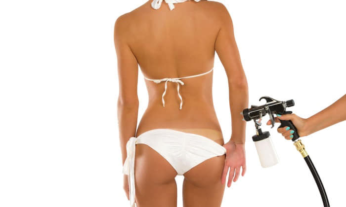 Airbrush spray tanning client at Wax-A-Peel in Lafayette, CA